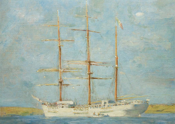Falmouth Wall Art - Painting - White Barque by Henry Scott Tuke