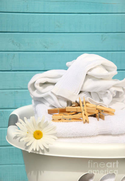 Wall Art - Photograph - White  Basket With Laundry by Sandra Cunningham