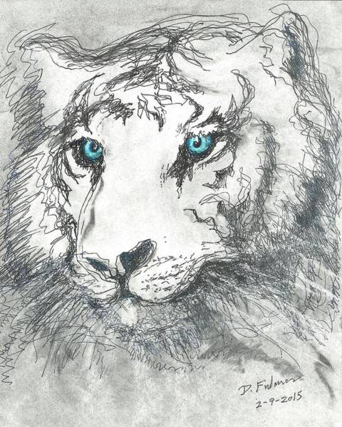 Drawing - White Bengal Tiger by Denise F Fulmer