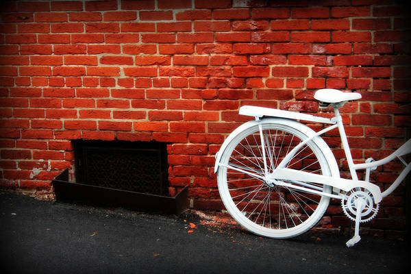 Photograph - White Bike On Red Brick by Susie Weaver