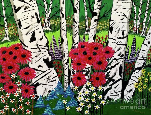 Wall Art - Painting - White Birch Flower Garden by Jeffrey Koss