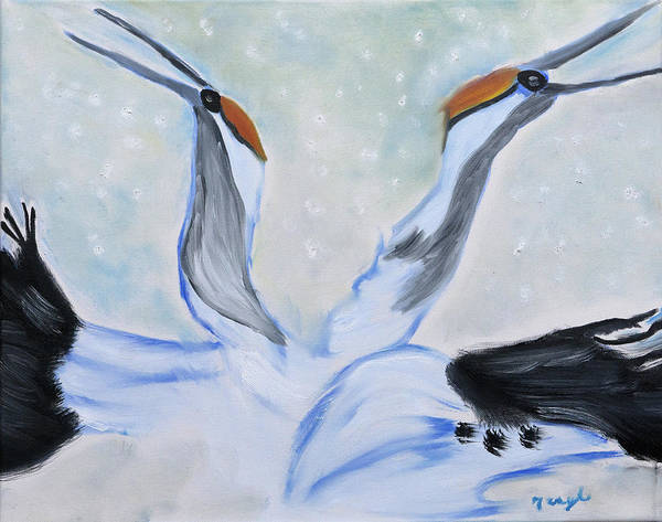 Wall Art - Painting - Snow Swans by Meryl Goudey