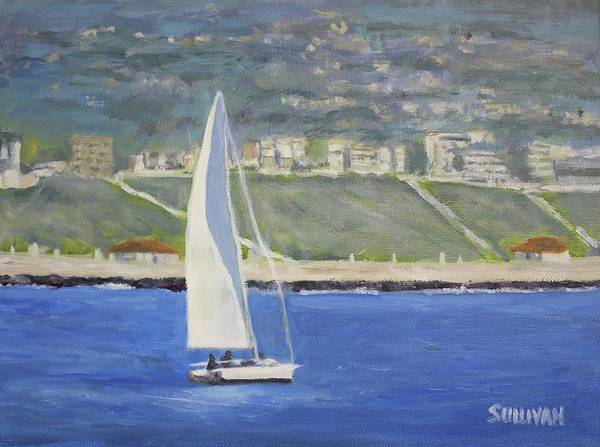 Painting - White Boat, Blue Sea by Dennis Sullivan