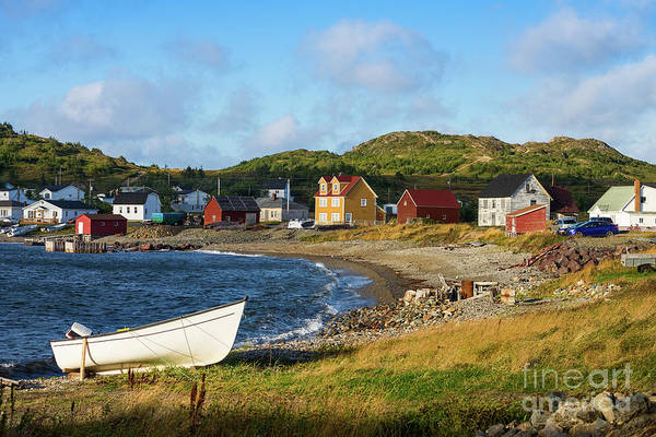 Photograph - White Boat On A Rocky Beach In Twillingate by Les Palenik