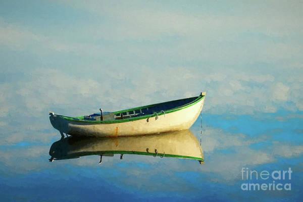 Photograph - White Boat Reflection - Painterly by Les Palenik
