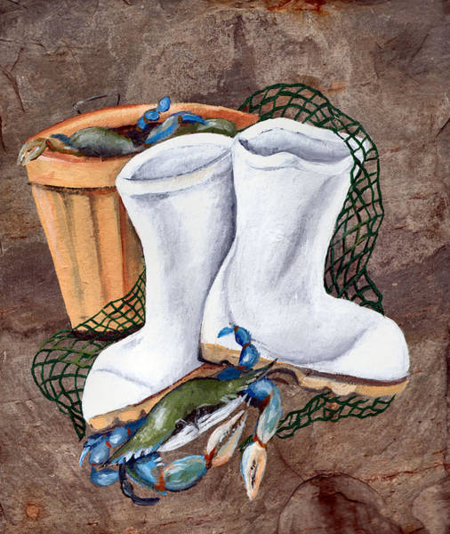 Wall Art - Painting - White Boots And Crabs by Elaine Hodges