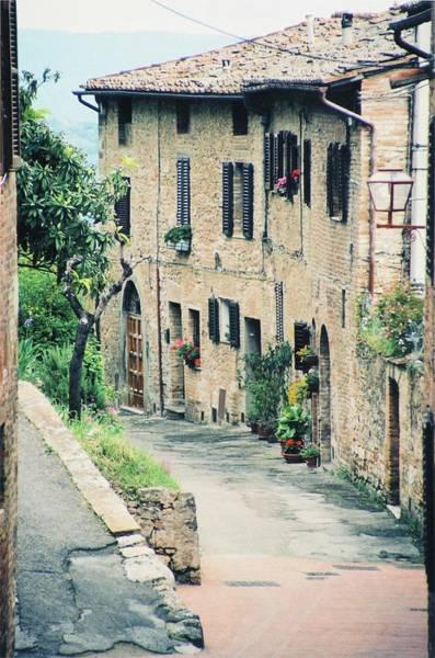Brick House Mixed Media - White Brick Building, San Gimignano by Pamela Fall