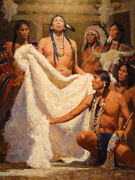 Painting - White Buffalo Robe by David Mann