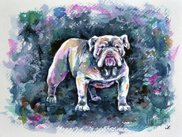 English Bulldog Painting - White Bulldog by Zaira Dzhaubaeva