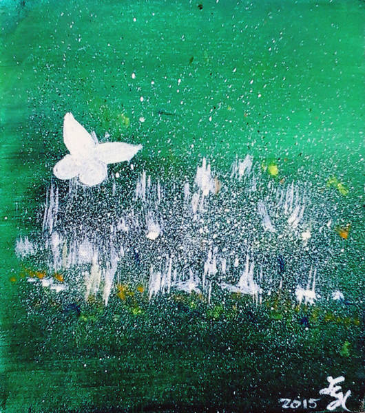 Painting - White Butterfly In Clover Blooms by Loretta Nash