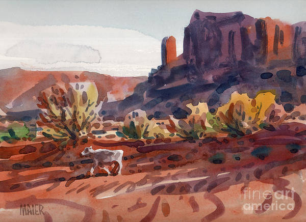 Monument Valley Painting - White Calf by Donald Maier