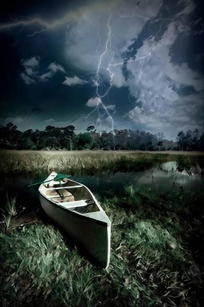 Photograph - White Canoe Dark Lightning Painting by Debra and Dave Vanderlaan