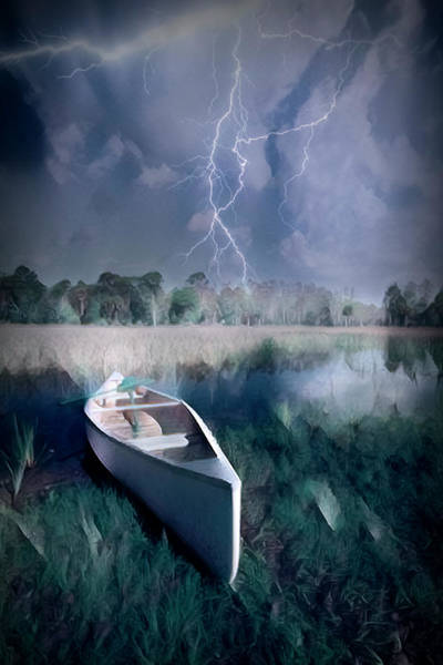 Photograph - White Canoe In The Evening Lightning Storm Dramatic Oil Painting by Debra and Dave Vanderlaan