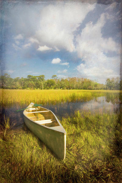 Photograph - White Canoe Textured Painting by Debra and Dave Vanderlaan