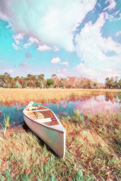 Photograph - White Canoe Watercolors Painting by Debra and Dave Vanderlaan