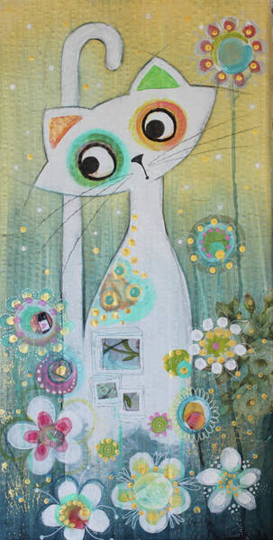 White Cat Mixed Media - White Cat by Johanna Virtanen