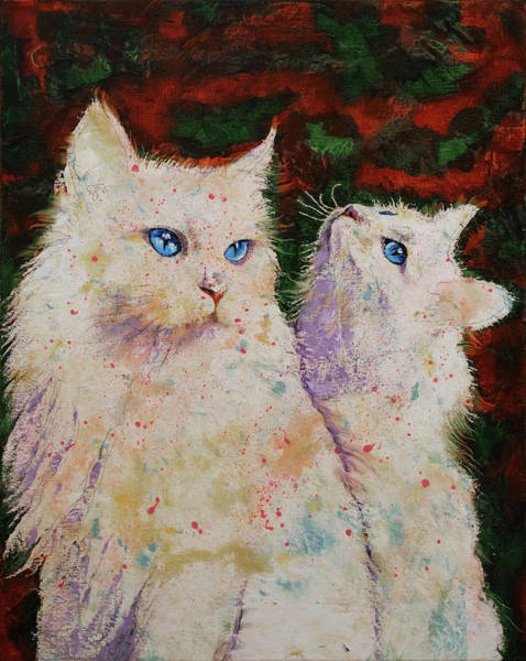 Crazy Cat Painting - White Cats by Michael Creese