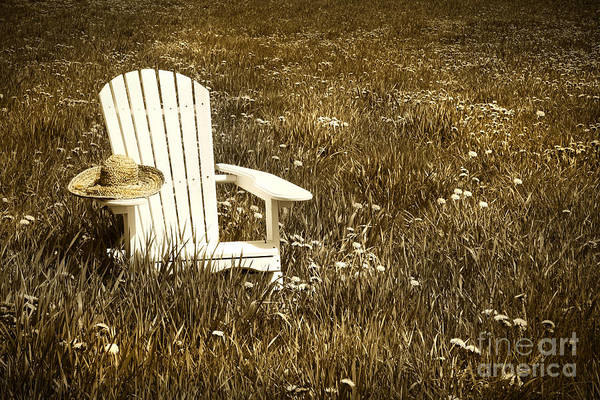 Blooms Digital Art - White Chair With Straw Hat In A Field by Sandra Cunningham