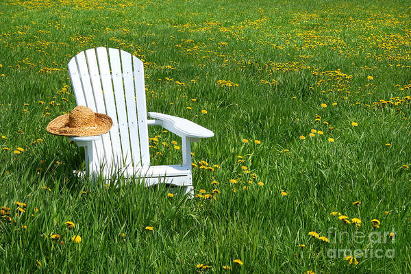 Blooms Digital Art - White Chair With Straw Hat by Sandra Cunningham