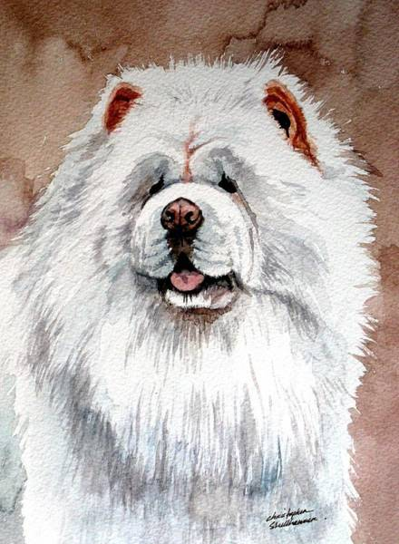 Painting - White Chow Chow by Christopher Shellhammer