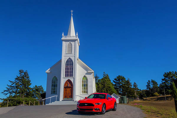 Wall Art - Photograph - White Church And Mustang by Garry Gay