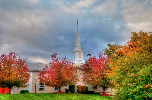 Photograph - White Church In Autumn -  by Joann Vitali