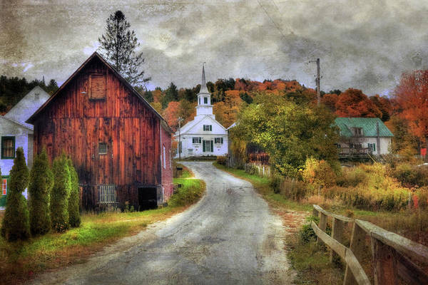 Photograph - White Church In Autumn - Vermont Country Scene by Joann Vitali