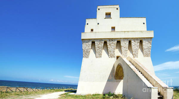 Photograph - white coastal tower in apulia, Italy Torre Mileto by Luca Lorenzelli
