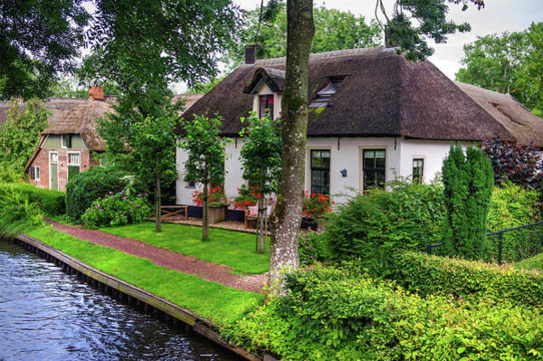 Wall Art - Photograph - White Cottages At The Canal In Giethoorn. The Netherlands by Jenny Rainbow