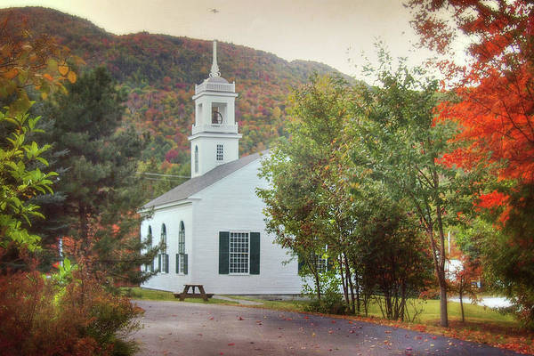 Photograph - White Country Church - Vermont In Autumn by Joann Vitali