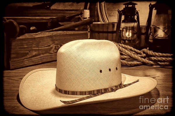 Photograph - White Cowboy Hat In A Barn by American West Legend By Olivier Le Queinec