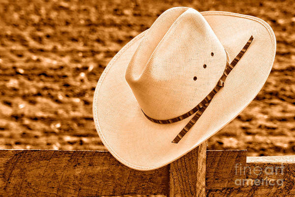Wall Art - Photograph - White Cowboy Hat On Fence - Sepia by Olivier Le Queinec