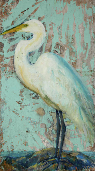Florida Beach Painting - White Crane by Billie Colson