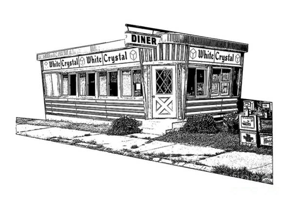 Wall Art - Digital Art - White Crystal Diner Nj Sketch by Edward Fielding