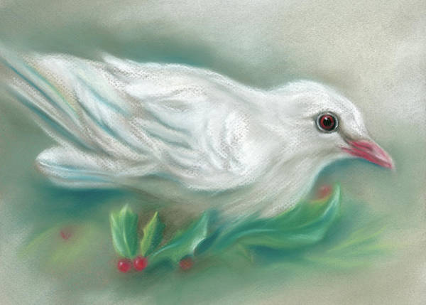 Pastel - White Dove With Christmas Holly by MM Anderson