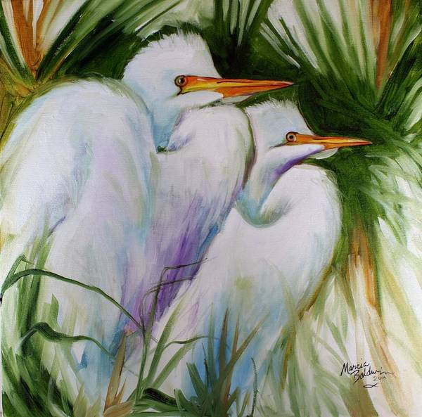 Painting - White Egret Pair Abstract by Marcia Baldwin