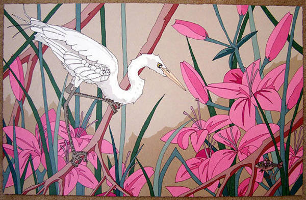Wall Art - Painting - White Egret With Fish by Dan Goad