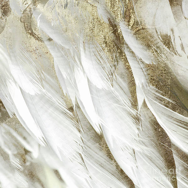 Wall Art - Painting - White Feathers With Gold by Mindy Sommers