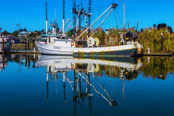 Rippling Photograph - White Fishing Boat Reflection by Garry Gay