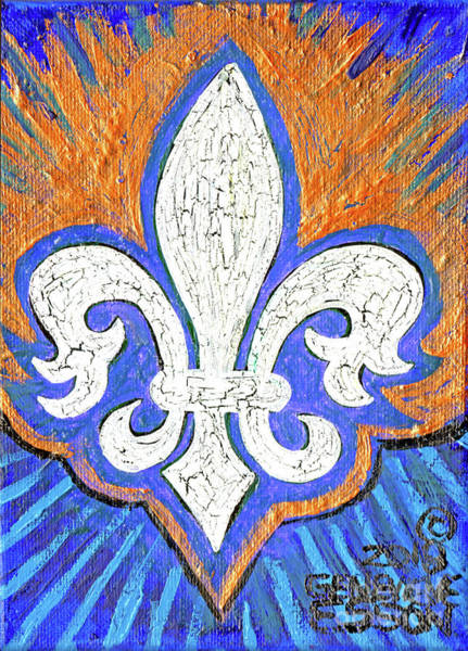 Wall Art - Painting - White Fleur De Lis With Gold by Genevieve Esson