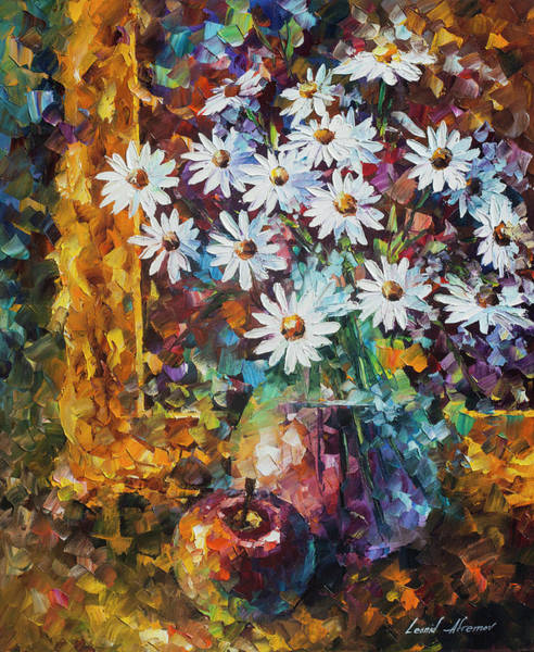 Wall Art - Painting - White Flowers by Leonid Afremov