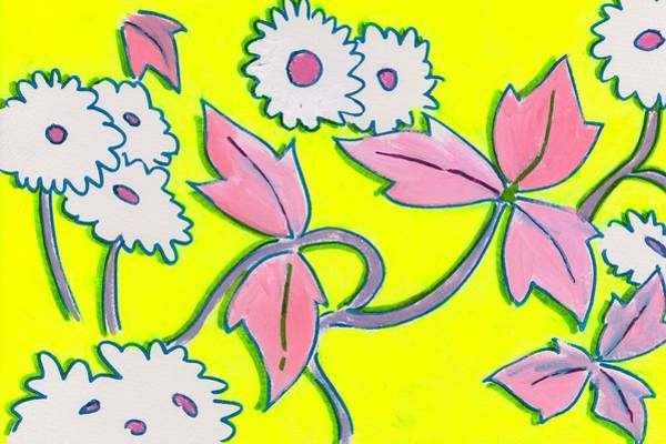 Painting - White Flowers On Bright Yellow With Light Purple Leaves Pattern by Mike Jory
