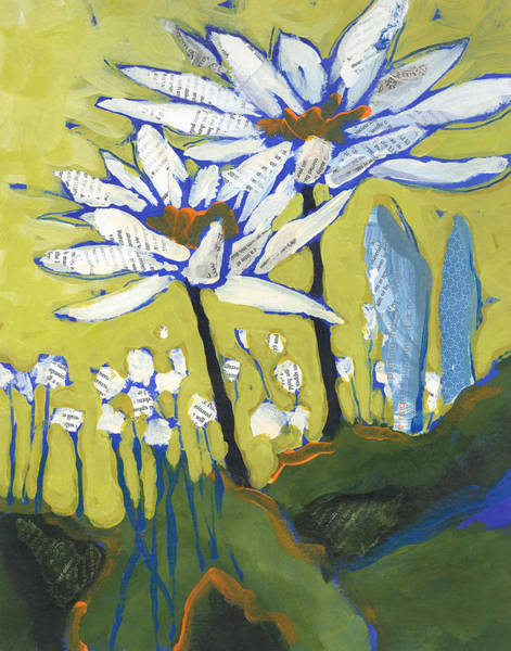 Summer Painting - White Flowers by Shelli Walters