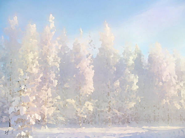 Digital Art - White Forest Morning by Shelli Fitzpatrick