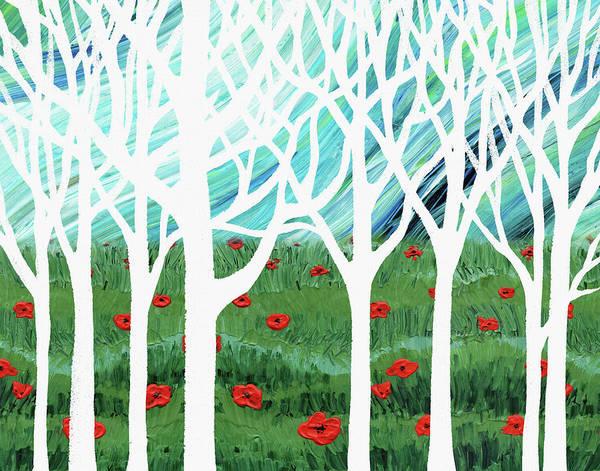 Painting - White Forest Poppy Field Blue Sky by Irina Sztukowski