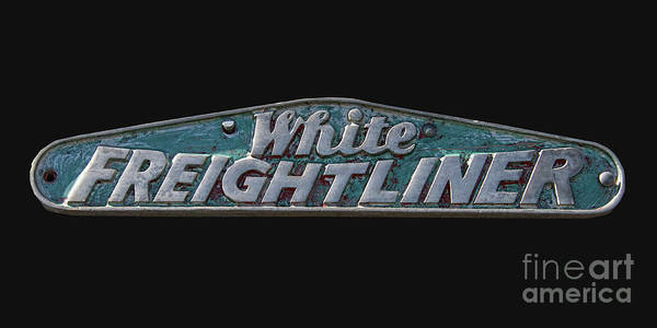 Freightliner Wall Art - Photograph - White Freightliner Symbol On Black by Nick Gray