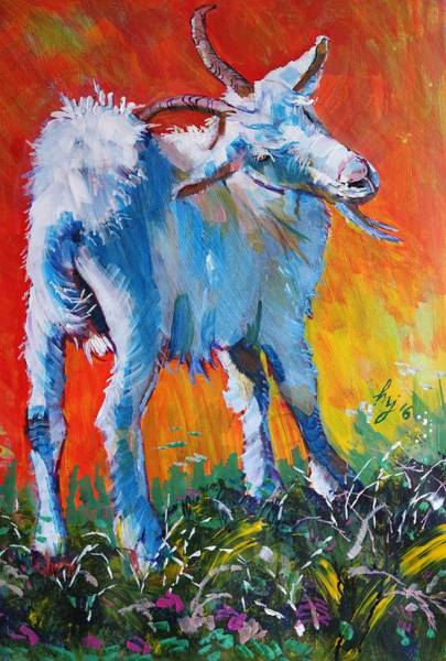 Painting - White Goat Painting - Scratching My Back by Mike Jory