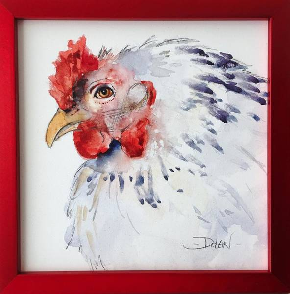 Painting - White Hen by Pat Dolan