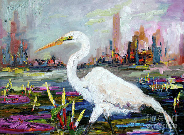 Painting - White Heron And City Skyline by Ginette Callaway