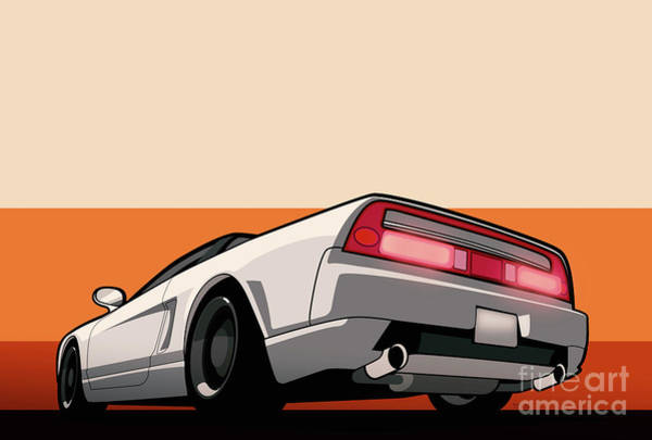 Wall Art - Digital Art - White Honda Acura Nsx by Monkey Crisis On Mars